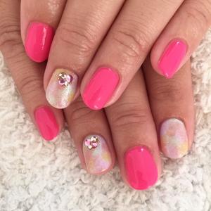 ネイル 浜松 ビタミンカラー ピンク ジェル 春夏 かわいい