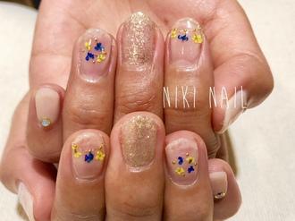ニキネイル 子安町 可愛い 浜松 ジェル デザイン 春ネイル 入学式 卒業式 押し花 ドライフラワー